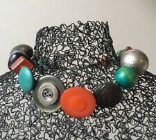 Handmade Choker Necklace Chunky Buttons & Beads Vintage & New Orange Jade Black