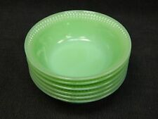6 Anchor Hocking Jadeite Fire King Jane Ray 4 7/8ths Berry Bowls