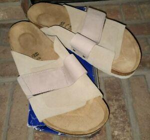 NIB BIRKENSTOCK Men's KYOTO Nubuck Suede Leather Sandals TAUPE 45 Regular
