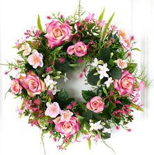 Türkranz Frühling Rosen rosa creme Wandkranz Tischkranz Kranz Sommer Hochzeit