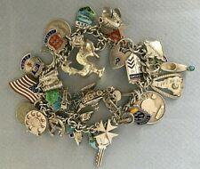 VINTAGE STERLING SILVER CHARM BRACELET 32 charms jangly 60g 1960s