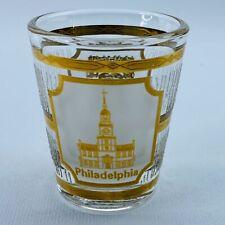 Vintage Culver Shotglass Philadelphia Pennsylvania Liberty Bell 22K Gold Trim