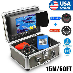 15M 7 Inch 24 LEDS Underwater Visual Fish Finder Surveillance For Ice/Sea/River