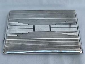 Good Sterling Silver Art Deco Cigarette Case Birmingham 1933.127.7 gms