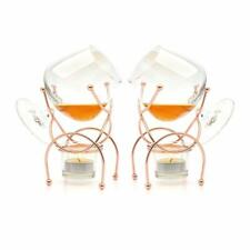 More details for set of 2 brandy drinking cognac snifter warmer glass & copper stand gift boxed