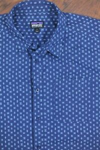 Patagonia Short Sleeve Button Down Shirt Space Micro Stone Blue Men's Large L