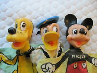 Vintage Walt Disney Donald Duck, Mickey Mouse, and Pluto Hand Puppets By Gund