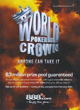 World Poker Crown 888.com 2008 Magazine Advert #3623