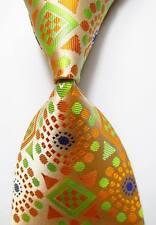 New Geometric Polka Dot Gold Green Blue JACQUARD WOVEN  Silk Men's Tie Necktie