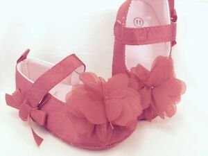 Baby Girl Crib Shoes Red Chiffon Flower Size 2