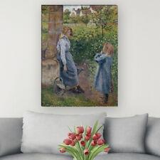 """WANDKINGS Leinwandbild Camille Pissarro - """"junge Frau und Mädchen am Brunnen"""""""