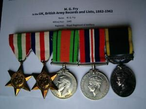 Officer medals WW2 Italy France & Germany Lieutenant M G Fry RA from Worthing