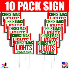 10X Christmas Lights Installation Yard Bandit Signs Your Phone Number Tree Gifts