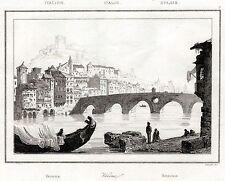 Verona: Panorama, Ponte Pietra,Adige. Acciaio. Stampa Antica + Passepartout.1835