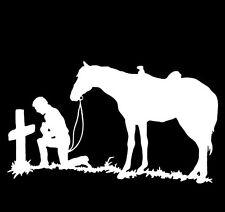 Cowboy Praying at the Cross w/Horse Western/Religion Decal vinyl window