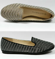 Round Toe Jeweled Studded Flat Ballet Loafers Shoes Wild Diva Taupe Beige Black