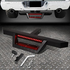 "FOR 2"" TOW TRAILER RECEIVER BLACK HITCH STEP BAR BUMPER GUARD W/LED BRAKE LIGHT"
