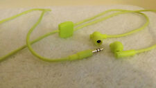 LIME GREEN  EARPHONES WITH TANGLE FREE CLOTH COVERED CORD
