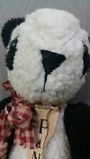 Vintage Plush Panda Bear with Plaid Bow and Bell 16""