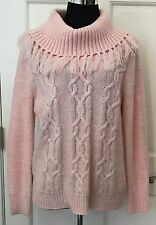 Ruby Rd. Womens Light Pink Cable Knit Turtleneck Sweater SZ XL Stretchy Fringe