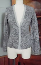 Banana Republic Animal Print Cardigan Sweater Small Gray Cotton Grosgrain Trim