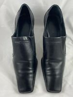 Franco Sarto Black Heels Booties Shoes Square Toe Stacked Heel Very Flexible 8M