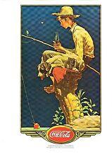 "Coca Cola  LITHOGRAPH PRINT--Norman Rockwell--Boy on Stump Fishing (11"" x 14"")"