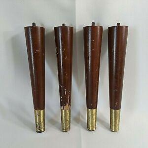 "MCM Vintage Wood Furniture Legs 4-10"" Brown Brass Tapered Atomic Salvage Upcycle"