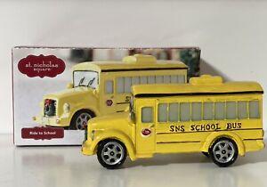 St. Nicholas Square Christmas Village Town Yellow School Bus