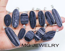 10 PCs Lot Natural Black Tourmaline Gemstone 925 Silver Plated Bezel Pendants