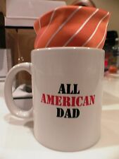 NEW ALL AMERICAN DAD TIE AND MUG SET  TANGERINE / ORANGE Fathers Day!!