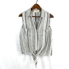 Cloth & Stone Womens Striped VNeck Button Down Tie Front Shirt Medium