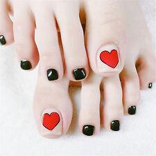 Summer Lovely Artificial False Toe Nails Love Heart Black Acrylic Nail Art 1 Set