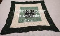 BEAUTIFUL VINTAGE HANDMADE CROCHET AFGHAN LAP COUCH BLANKET THROW SQUARE GREEN