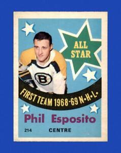 1969-70 O-Pee-Chee Set Break #214 Phil Esposito All-Star EX-EXMINT *GMCARDS*