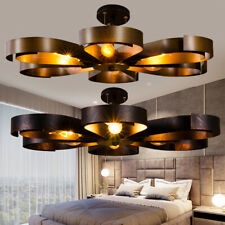 Industrial Iron Flower Chandelier Light Semi Flush Mount Lamp Pendant Fixtures