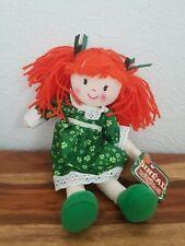 IRELAND SINEAD IRISH RAG DOLL GREEN DRESS WITH SHAMROCKS RED HAIR BNWT
