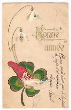 CPA GAUFREE EMBOSSED BONNE ANNEE PERE NOEL SANTA CLAUS TREFLE 1903