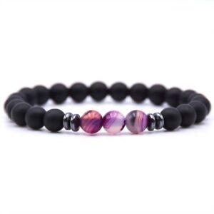 Black Tourmaline Matte Agate Stone Yoga Beads Stretch Bracelets Jewelry/