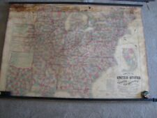 Original 1864 Lloyd's Hand Colored Wall Map Of The United States & Canada. Rare.