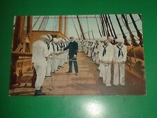 ZT966 Vintage Postcard Lesson in Splicing Ropes on Board US War Ship Navy