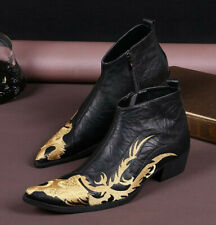 Mens Leather Business Leisure Boots Shoes Embroidery Dragon Pointy Toe Party New