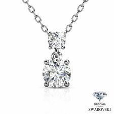 White Gold Plated Solitaire Round Swarovski Zirconia Pendant Necklace
