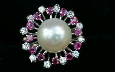 Vintage 14k Gold Diamond Ruby Pearl Ring/14k Gold Pearl Diamond Ruby Halo Ring
