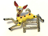 TRUE VINTAGE Retro Fawn Little Deer Enamel Rhinestone Costume Jewelry Pin JVJ02
