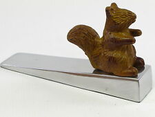 Squirrel Door Stop Wedge Stopper Polished Cast Aluminium Silver Hand Painted