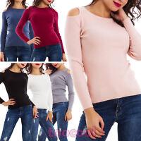 Maglione donna pullover maglia spalle scoperte aderente costine nuovo C25