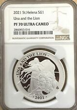 2021 Una and The Lion 1 oz Silver Proof NGC PF70 St  Helena UK BOX COA NICE