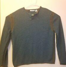 Gene Meyer Mens LARGE Green Grey Merino Wool Long Sleeve Sweater