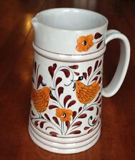 """7"""" hand painted chicken bird pitcher from Italy Italian art pottery white brown"""